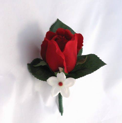 Boutonniere Silk Red Rosebud Stephanotis