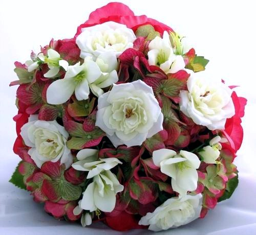 Silk Bouquet Cream/White Fuchsia Hydrangea Rose