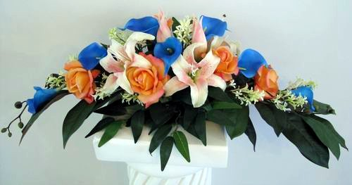 Long Arrangement Natural Touch Calla Lily Rose