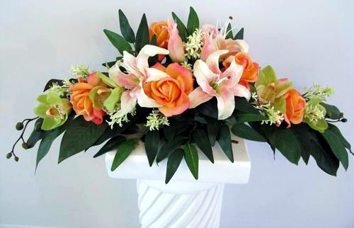 Long Arrangement Natural Touch Cymbidium Lily Orchid Rose