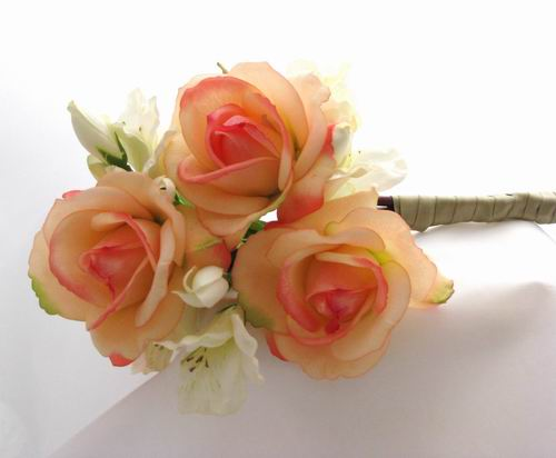 Natural Touch Arm Bouquet Apricot Roses