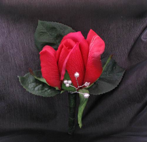 Boutonniere Natural Touch Red Rose Pearl