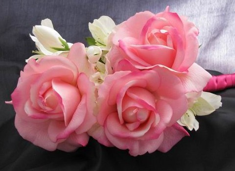 Natural Touch Arm Bouquet Pink Roses White Filler