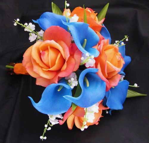 Natural Touch Bouquet Blue Calla Lily Orange Rose Lily