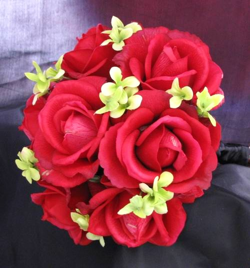 Natural Touch Bouquet Red Rose Green Filler