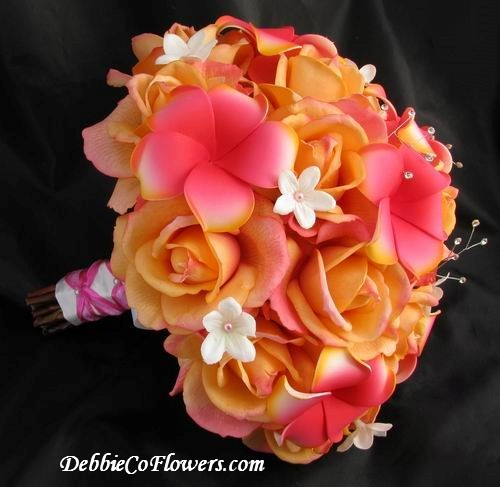 Natural Touch Bouquet Orange Rose Fuchsia Plumeria Stephanotis