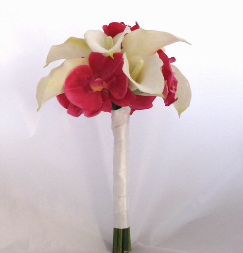 Natural Touch Bouquet Hot Pink Orchid White Calla