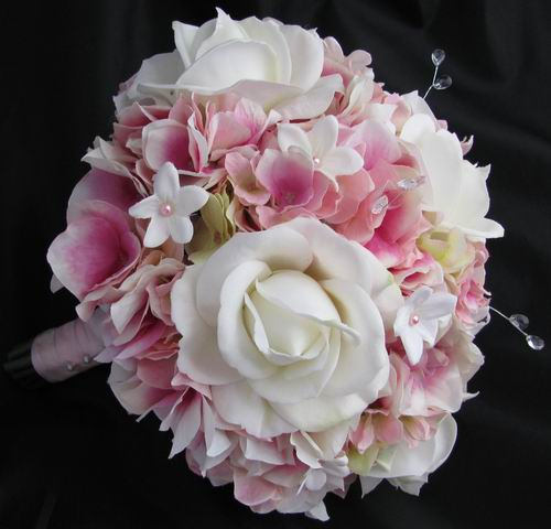 Natural Touch & Silk Bouquet Pink Hydrangea Rose