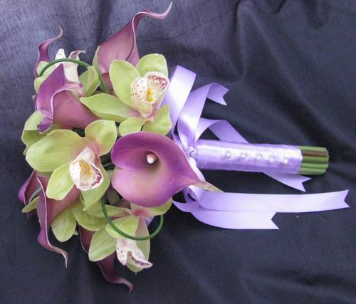 Natural Touch Bouquet Looped Purple Calla Green Orchid