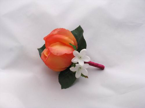 Boutonniere Natural Touch Orange Rose Rhineston Stephanotis