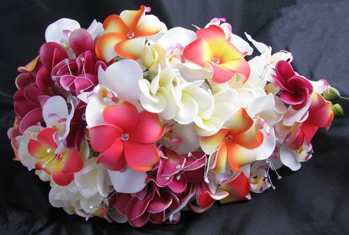 Natural Touch Cascade Bouquet Frangipani Orchid
