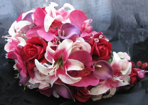 Natural Touch Cascade Bouquet Orchid Red Rose Purple Cal
