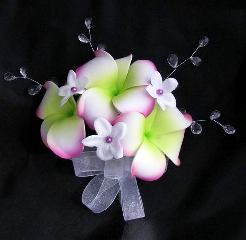 Corsage Soft Touch Purple Plumeria Stephanotis