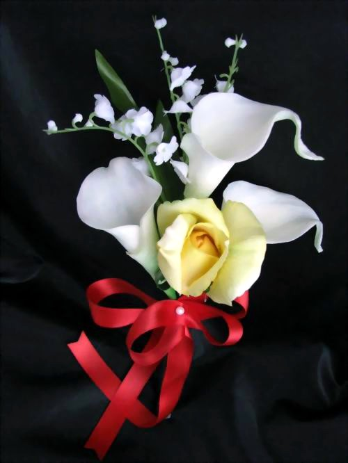 Natural Touch Pew Decoration Calla Lily Rose