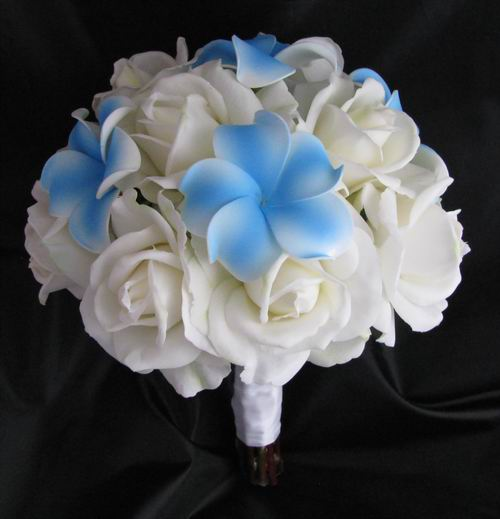 Natural Touch Bouquet White Rose Blue Plumeria