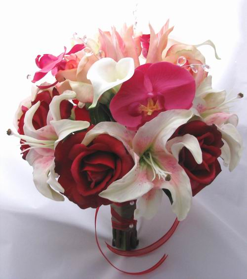 Natural Touch Bouquet Red Rose Lily