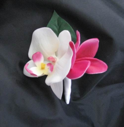 Boutonniere Natural Touch Plumeria Orchid