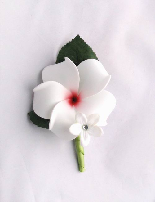 Boutonniere Soft Touch White Plumeria Steph