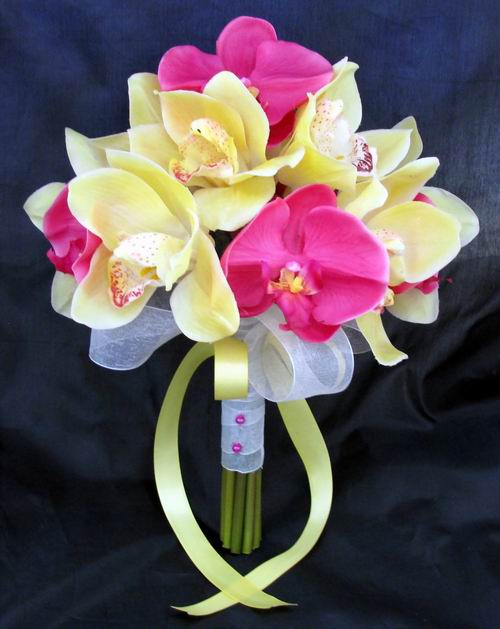 Natural Touch Bouquet Hot Pink Yellow Orchids