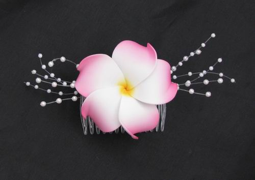 Hair Comb Soft Touch Pink White Plumeria Pearl