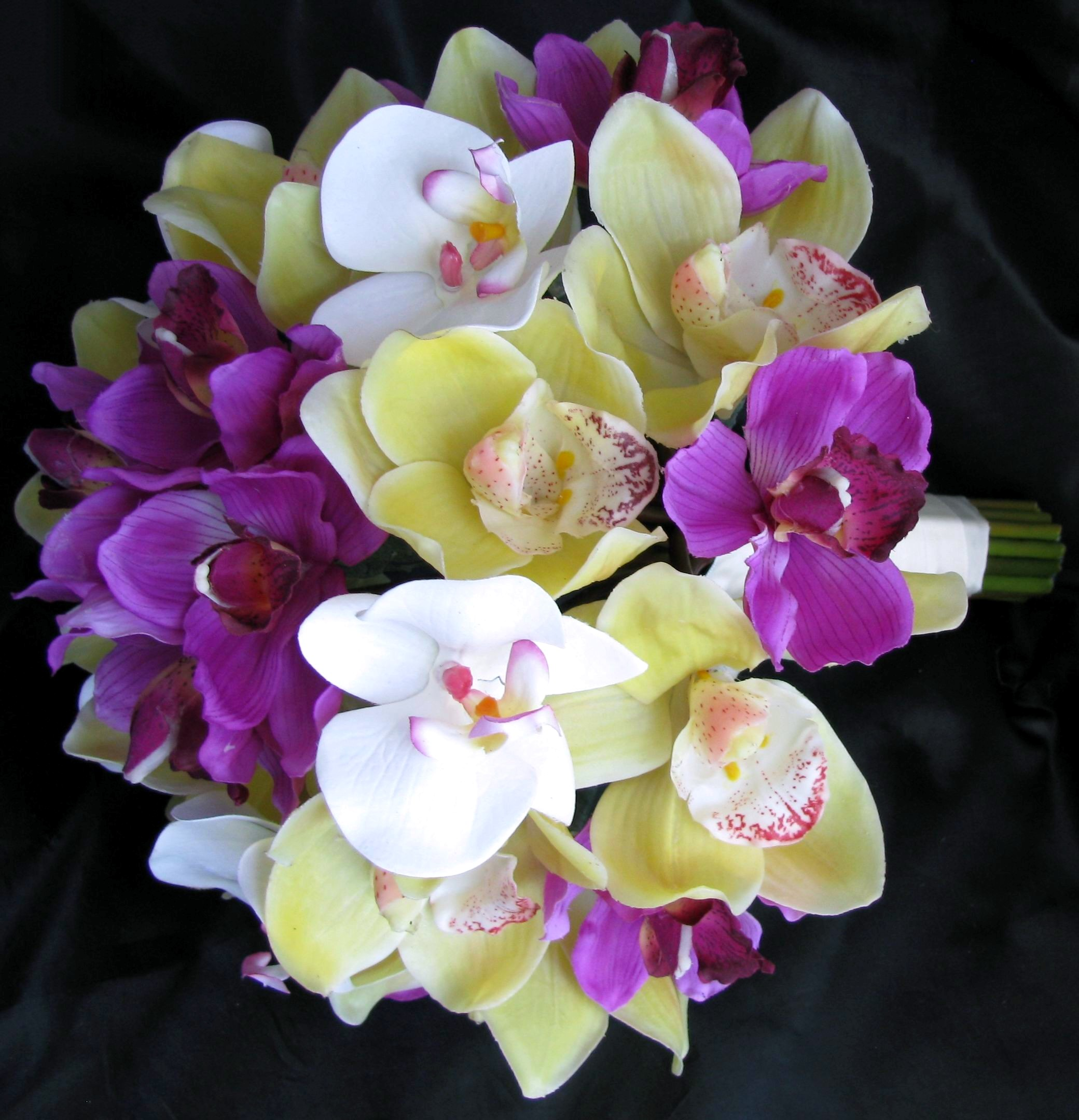 Natural Touch Bouquet Purple Yellow White Orchids
