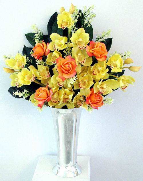 Tall Arrangement Natural Touch Rose Orchid