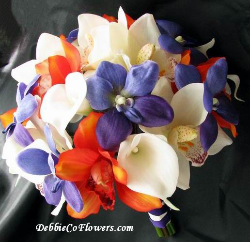 Real Touch and Silk Bouquet OrangePurple White Lily Orchid