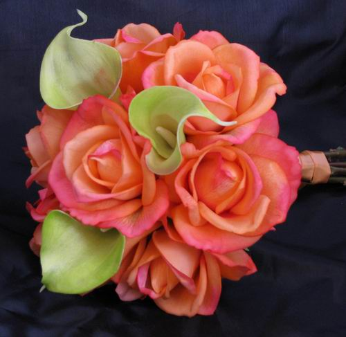Natural Touch Bouquet Fuchsia Orange Rose Green Calla
