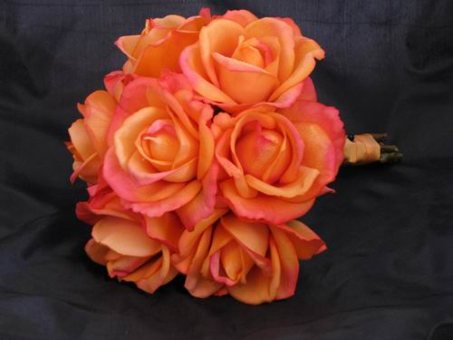 Natural Touch Bouquet Fuchsia Orange Rose